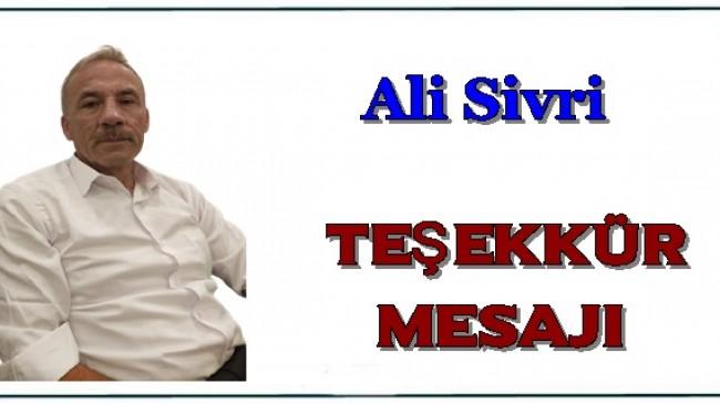 Ali Sivri Teşekkür Mesajı